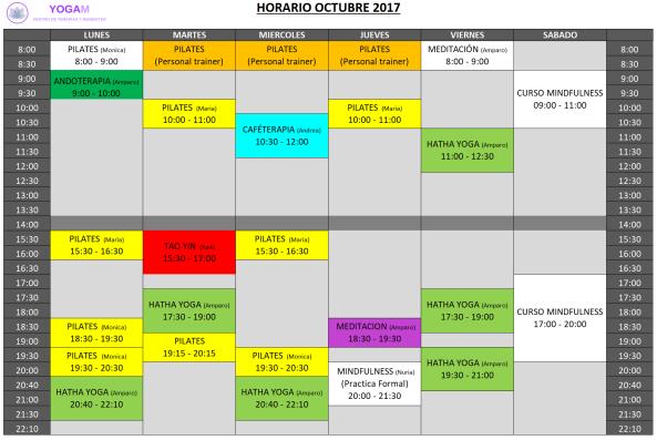 Horario Octubre 2017