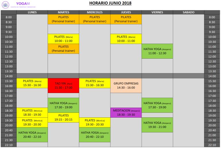 Horario Yogam Junio 2018